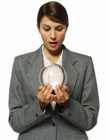 Woman looking into crystal ball, Inventory System Software Blog