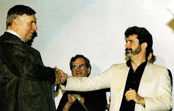 Gene Roddenberry and George Lucas shaking hands, Fishbowl Blog